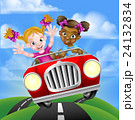 Cartoon Girl Children Driving Car 24132834