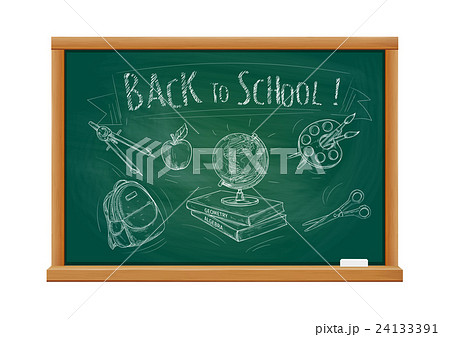 Back to school welcome chalk blackboardのイラスト素材 [24133391] - PIXTA