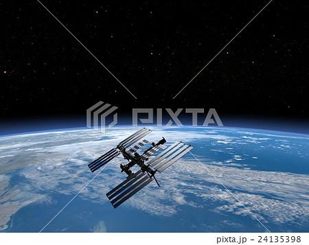 地球とISS (宇宙ステーション)3DCG perming3DCGmp160819 イラスト素材 24135398