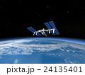 地球とISS (宇宙ステーション)3DCG perming3DCGmp160819 イラスト素材 24135401
