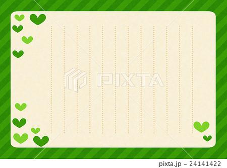便箋 縦書き ハート 緑のイラスト素材 24141422 Pixta