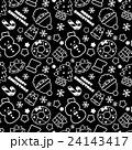 賑やかなクリスマスランダム柄 シームレス(連続・繋がる)パターン 黒 背景素材・ベクター 24143417