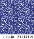 賑やかなクリスマスランダム柄 シームレス(連続・繋がる)パターン 青・ネイビー 背景素材・ベクター 24143419