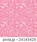賑やかなクリスマスランダム柄 シームレス(連続・繋がる)パターン ピンク 背景素材・ベクター 24143420