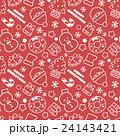 賑やかなクリスマスランダム柄 シームレス(連続・繋がる)パターン 赤 背景素材・ベクター 24143421