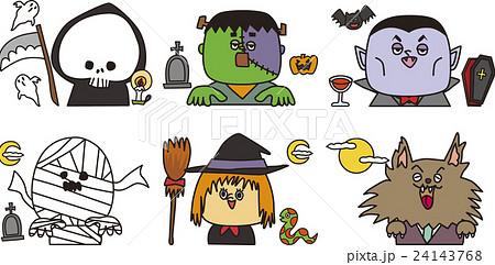 ハロウィンキャラクターセットのイラスト素材 24143768 Pixta