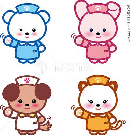 アニマルナース可愛い動物の看護師さんクマさんウサギさんイヌさんネコさん足跡 24160854