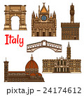 Symbolic travel landmarks of Italy thin line icon 24174612