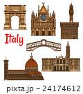 Symbolic travel landmarks of Italy thin line icon 24174612