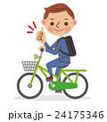 グッドサインをする自転車に乗るビジネスマン 24175346