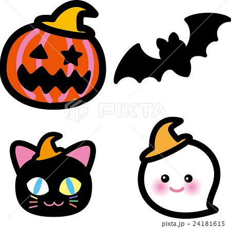 ハロウィン かぼちゃ コウモリ 猫 おばけのイラスト素材 24181615 Pixta