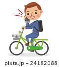 スマホをかけながら自転車を運転するビジネスマン 24182088