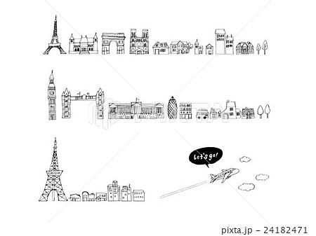 ヨーロッパ 街並み 線画のイラスト素材 24182471 Pixta