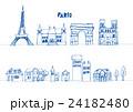 フランス 線画 町 24182480