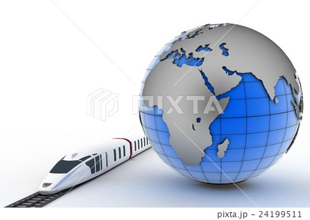 Globe and train. 3d render illustrationのイラスト素材 [24199511] - PIXTA