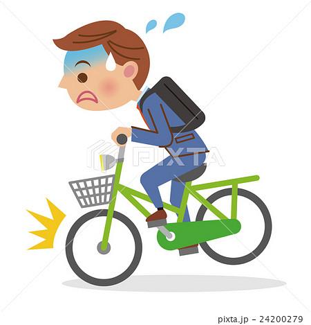自転車に急ブレーキをかけるビジネスマン 24200279