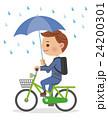 自転車を傘さし運転するビジネスマン 24200301