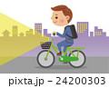 ライトを点灯し自転車を運転するビジネスマン 24200303