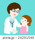 Cute girl cartoon see doctor vector 24201540