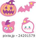 ハロウィン ピンク かぼちゃ コウモリ 猫 おばけ 24201579
