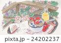 庭でくつろぐ イラスト 24202237