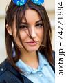 Portrait face of an young fashion brunette model 24221884