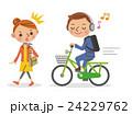 ヘッドフォンで音楽を聴きながら自転車を運転するビジネスマンと迷惑する女性 24229762