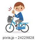 グッドサインをする自転車の男子学生 24229828