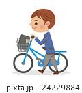 自転車を押し歩きする男子学生 24229884