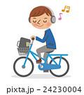 ヘッドフォンで音楽を聴きながら自転車を運転する男子学生 24230004