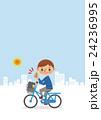自転車に乗りグッドサインをする男子学生(背景あり) 24236995