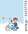 自転車にカギをかける男子学生(背景あり) 24237759