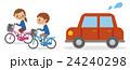 自転車で並走する男女学生と迷惑する自動車 24240298