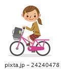 自転車を運転する女子生徒 24240478