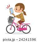 スマートフォンを見ながら自転車を運転する女子生徒 24241596