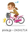 自転車に急ブレーキをかける女子生徒 24241714