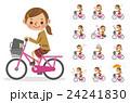 自転車に乗る女子生徒(セット) 24241830