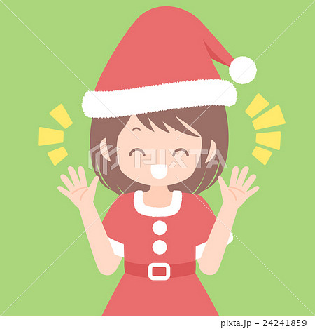 楽しそうに喋るサンタ服姿の女性 上半身 クリスマスイラスト ベクター素材 24241859
