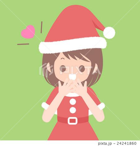 喜ぶサンタ服姿の女性 上半身 クリスマスイラスト ベクター素材 24241860