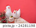 鶏 正月 年賀状素材の写真 24281198