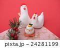 鶏 正月 年賀状素材の写真 24281199