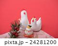 鶏 正月 年賀状素材の写真 24281200