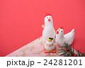 鶏 正月 年賀状素材の写真 24281201