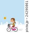自転車に乗る女子生徒(背景あり) 24290861