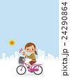 自転車に乗りグッドサインをする女子生徒(背景あり) 24290864