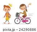 ヘッドフォンで音楽を聴きながら自転車を運転する女子生徒と迷惑する女性 24290886