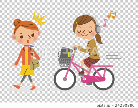 A girl who annoys girls driving a bicycle while listening to music with headphones 24290886