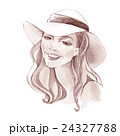 Girl in a hat. Fashion sketch. Hand drawn  24327788