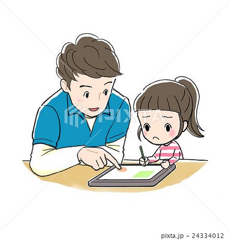 タブレット学習_男性と女の子_むずかしい 24334012