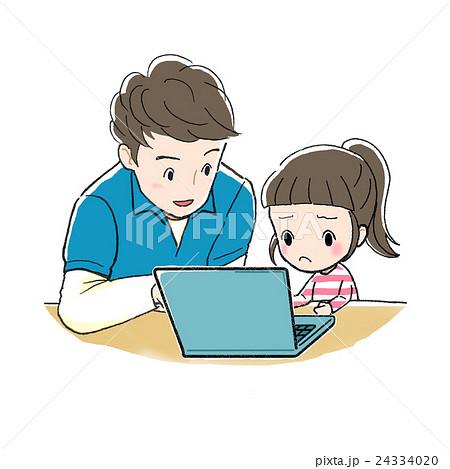 PC学習_男性と女の子_むずかしい 24334020